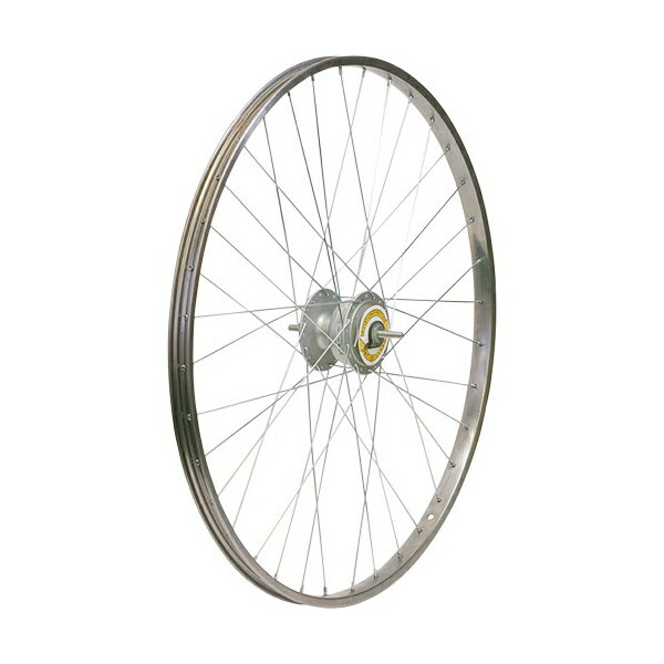 敷島 前輪 24 × 1 3/8 ハブダイナモ ステンレスリム シマノ2端子 24インチ ホイール 車輪 自転車