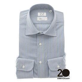 【スーパーSALE】ドレスシャツ/長袖/メンズ/20周年記念アイテム/REDA/FIT/ワイドカラードレスシャツ ロンドンストライプ ブルー/ザ・スーツカンパニー