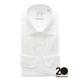 【スーパーSALE】ドレスシャツ/長袖/メンズ/20周年記念アイテム/ワイドカラードレスシャツ 無地/Fabric by ITALY/ ホワイト/ザ・スーツカンパニー