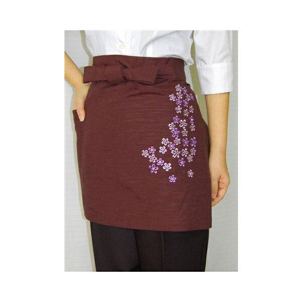 和風和柄 桜刺繍42cm丈エプロン 前掛け業務用 サロンエプロン あずき ホテル・旅館制服