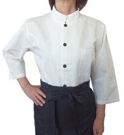 マオカラー七分袖シャツ バーバリー素材 男女兼用Sサイズ〜LLサイズ