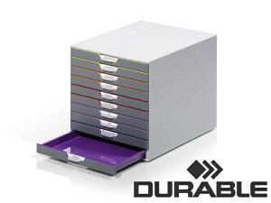DURABLE VARICOLOR 10 デュラブル バリカラー A4 縦型 レターケース 10段 おしゃれ オフィス用品 書類整理 ヨーロッパ ドイツ 引出し 卓上