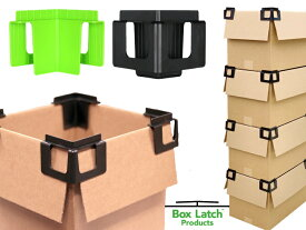 【Eco Latch】Box Latch Products クリップ&スタック【4個入り-全2色】ボックスラッチ Box Latch 段ボール アメリカ エコ 段ボール 倉庫 収納 整理 スタッキング 片付け スーパー 陳列