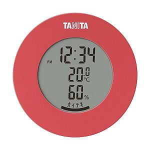 タニタ TT-585 PK ピンク 温湿度計 温度 湿度 デジタル 時計付き 卓上 マグネット TANITA 【SB12536】