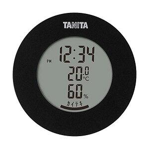 タニタ TT-585 BK ブラック 温湿度計 温度 湿度 デジタル 時計付き 卓上 マグネット TANITA 【SB12537】