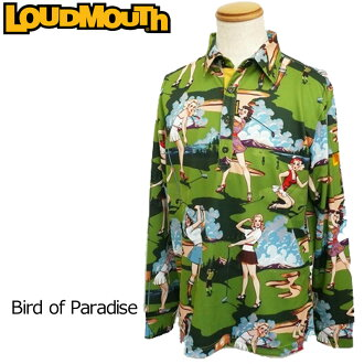 [优惠券有][30%off][日本规格]Loudmouth(raudomausu)2016长袖子开领短袖衬衫(040)Birds of Paradise鸟of天堂人726502[新货]16FW高尔夫球服装顶端