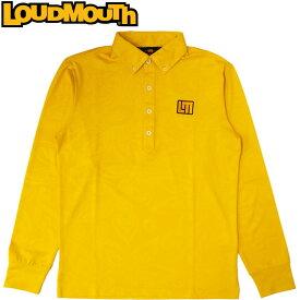 【メール便発送】ラウドマウス メンズ 長袖ボタンダウンポロシャツ シャガデリックエンボス Yellow イエロー 777501(993) 【日本規格】【新品】 17FW Loudmouth 男性用 ゴルフウェア トップス 長そで 黄色 無地 ロゴ %off