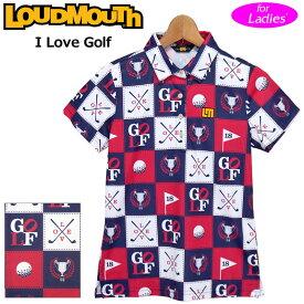 【メール便発送】ラウドマウス レディース 半袖 ポロシャツ 吸水速乾 UVカット I Love Golf アイラブゴルフ 760656(251) 【日本規格】【新品】20SS Loudmouth ゴルフウェア %off