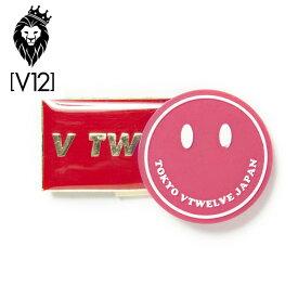 【メール便可250円】V12 ゴルフ ヴィ・トゥエルヴ SMILE MARKER スマイル マーカー V TWELVEロゴ クリップマーカー V121820-AC03 32/ピンク【新品】18SS ボールマーカー ゴルフラウンド小物マグネット式マーカー