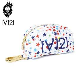 V12 ゴルフ ヴィ・トゥエルヴ ボールケース V121810-BG07 02/マルチスターホワイト【新品】18SS ゴルフラウンドメンズレディースゴルフ用バッグ小物入れ星柄Multi Star
