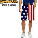 """Loudmouth Regular Cut Short Pants """"Stars & Stripes""""(ラウドマウス メンズ レギュラーカットショートパンツ """"スターズ&ストライプス"""")【新品】Loudmouthゴルフウェアボトムスメンズウェアパンツ短パンハーフパンツ派手 派手な 柄 目立つ 個性的"""
