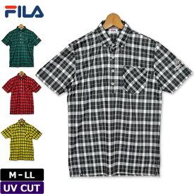 【メール便発送OK】フィラゴルフ 2019 メンズ ボタンダウン 半袖 ポロシャツ UV CUT チェック柄 789611 【新品】19FW FILA Golf ゴルフウェア メンズウェア トップス 半そで