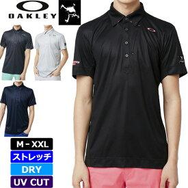 【メール便発送OK】Oakley オークリー スカル メンズ 半袖 ボタンダウンポロシャツ 434391JP Skull Hidden Diagonal Shirts 春夏秋【新品】 18SS ゴルフウェア ストレッチ 吸汗速乾 UPF30+ 半そで SEP2 SEP3