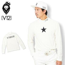 V12 ゴルフ ヴィ・トゥエルヴ 2019 メンズ ONE STAR モックネック 長袖シャツ V121920-CT01 02/WHITE 【新品】19FW ゴルフウェア 男性用 紳士用 長そで トップス AUG3 SEP1