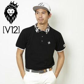 V12 ゴルフ ヴィ・トゥエルヴ メンズ カモカラー 半袖ポロシャツ V121810-CT12 19/ブラック 春夏【新品】18SSゴルフウェア男性用紳士用MEN'SMENS'半そでトップス無地カモ柄迷彩