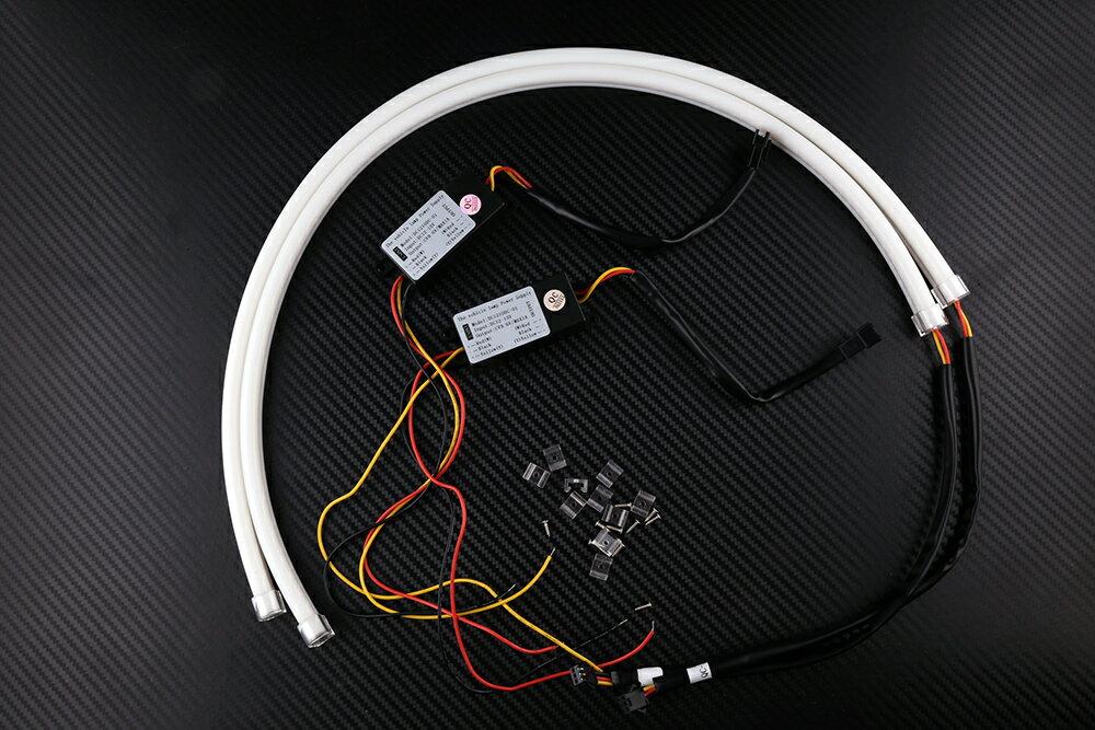 LEDデイライト 60cm ホワイト/アンバー 2色切り替え式 白/橙 LEDシリコンチューブ 2本セット LEDライト 防水・カットOK ウインカー/ポジション等に キャンセラー内蔵 一年保証 外装・内装