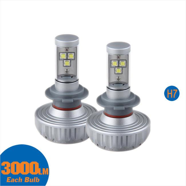 LEDヘッドライト フォグランプ H7 3000LM 28W ファンレス 12V/24V兼用 クリー CREE製LED採用 XML2素子/アルミヒートシンク搭載 カラーフィルム付き