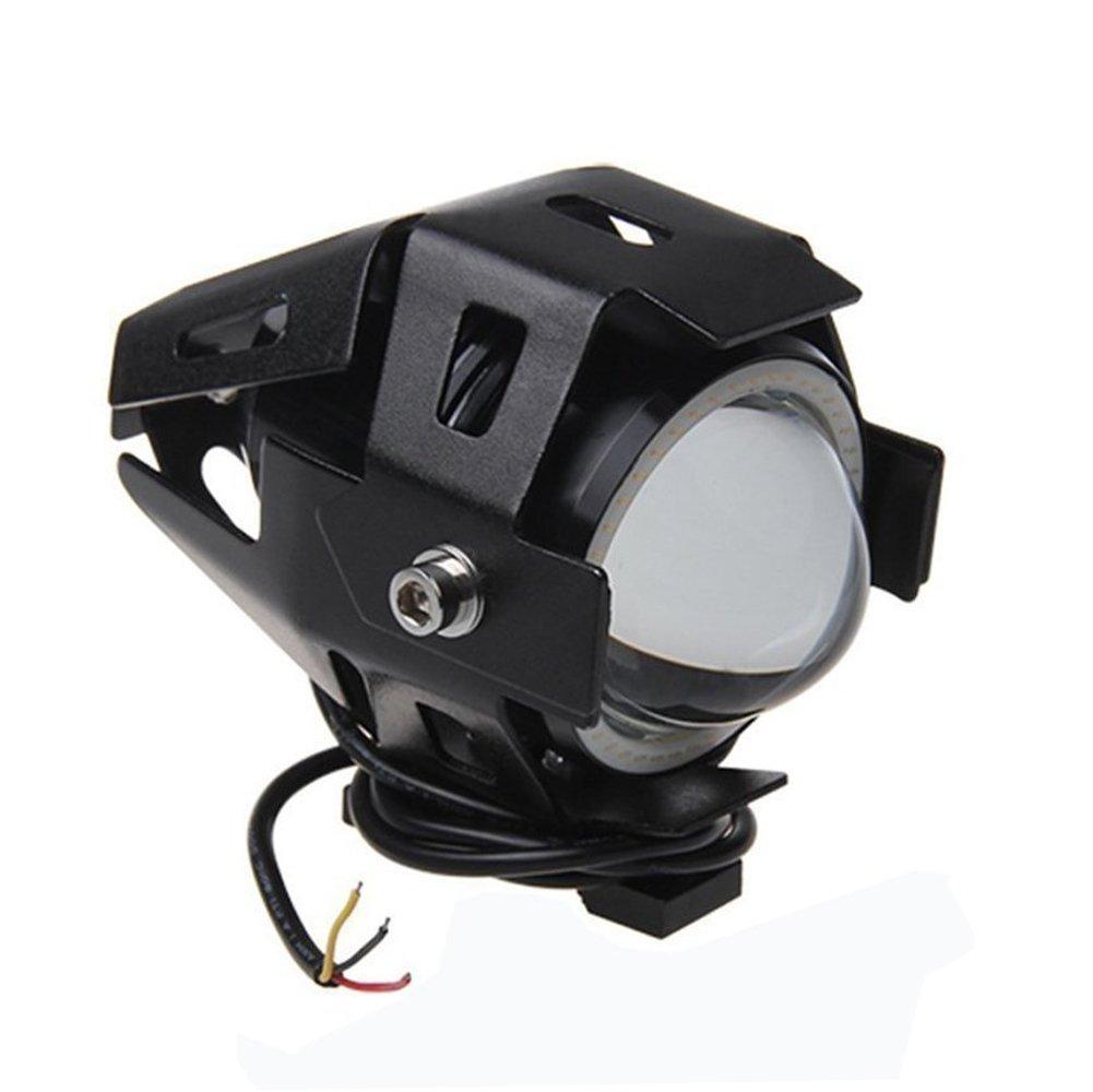 LEDヘッドライト CREE社 U7 砲弾型 バイク 白/青イカリング選択可 防水 15W 3000LM 12V~80V led フォグランプ LEDライトオートバイ ヘッドライト アルミ製 イカリング付き ストロボ機能 1個