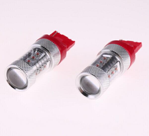 T20/7440 シングル球 LEDバルブ クリー CREE製LED採用 80W レッド 赤 2個セット 12V 1年保証 無極性タイプで簡単交換