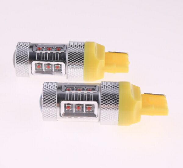 T20/7440 シングル球 LEDバルブ クリー CREE製LED採用 80W オレンジ 2個セット 12V 1年保証 無極性タイプで簡単交換