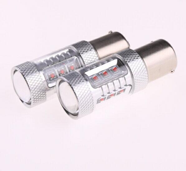 S25s/1156/BA15s 180°平行ピン シングル球 LEDバルブ クリー CREE製LED採用 80W レッド 2個セット 12V 1年保証 無極性タイプで簡単交換