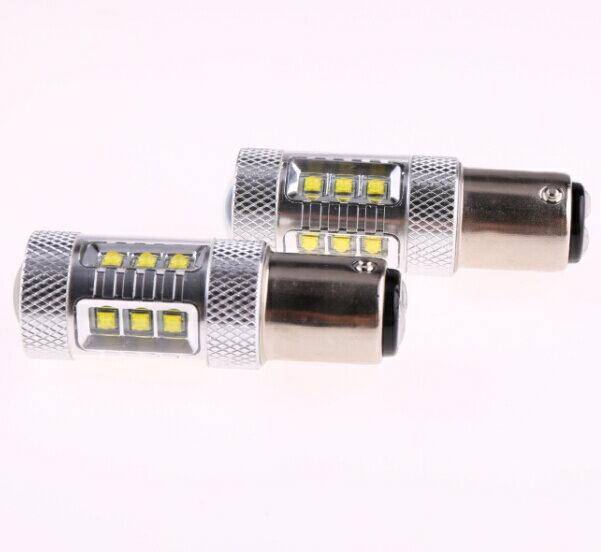 S25D/1157/BA15D ダブル 180°段違い ダブル球 LEDバルブ クリー CREE製LED採用 80W ホワイト白 2個セット 12V 1年保証