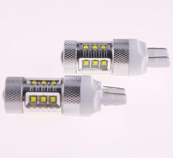 T20/7443 ダブル球 LEDバルブ クリー CREE製LED採用 80W ホワイト白 2個セット 12V 1年保証