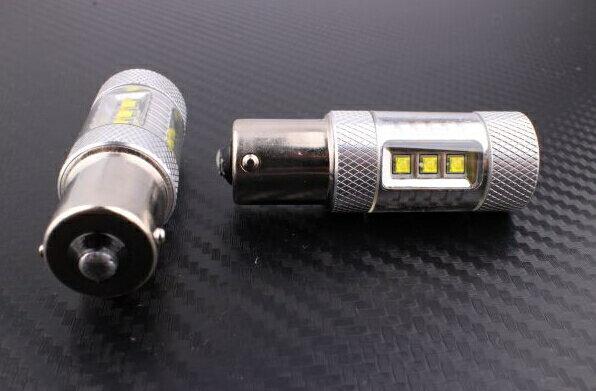 S25s/1156/BA15s 180°平行ピン シングル球 LEDバルブ クリー CREE製LED採用 80W ホワイト白 2個セット 12V 1年保証 ハイブリッド車対応 無極性タイプで簡単交換