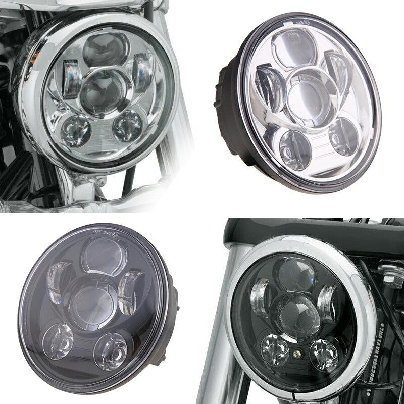 宅配便送料無料! LED ヘッドライト ハーレー 黒/銀 5.75インチ 防水 40W Hi/Lo ハーレー ブラック/シルバー Harley オートバイ 純正交換 LEDライト ホワイト発光 新型 汎用 ハーレーダビッドソン ジープ 1個