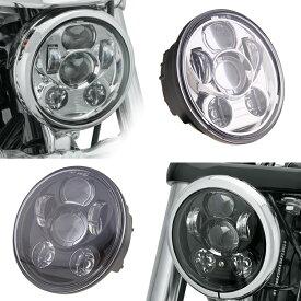 LED ヘッドライト ハーレー 黒/銀 5.75インチ 防水 40W Hi/Lo ハーレー ブラック/シルバー Harley オートバイ 純正交換 LEDライト ホワイト発光 新型 汎用 ハーレーダビッドソン ジープ 1個