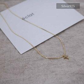 【eclat エクラ】Silver925 Gold Thin&Fine Cross Choker Necklace【追跡可能メール便 送料無料】e0309