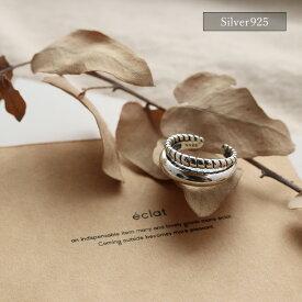 【eclat エクラ】Silver925 Warp Line Ring【追跡可能メール便 送料無料】e0340