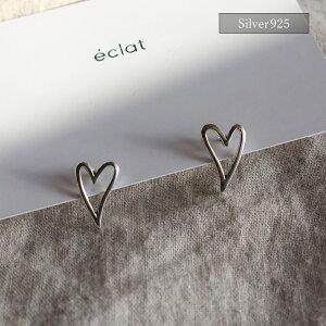 【eclatエクラ】Silver925ThinHeartMotifPierced【追跡可能メール便送料210円】e0342