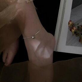 Silver925 Half Design Lucky Gem Anklet 【追跡可能メール便 送料210円】y0054