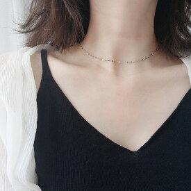 Silver925 Eclair Chain Necklace【追跡可能メール便 送料210円】y0056