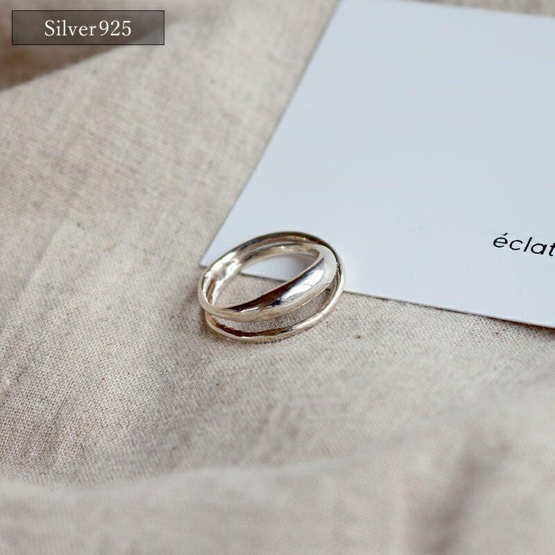 【eclat エクラ】Silver925 Double Ring【メール便不可】e0003