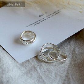 【eclat エクラ】Silver925 3Layered Ring【追跡可能メール便 送料無料】e0033