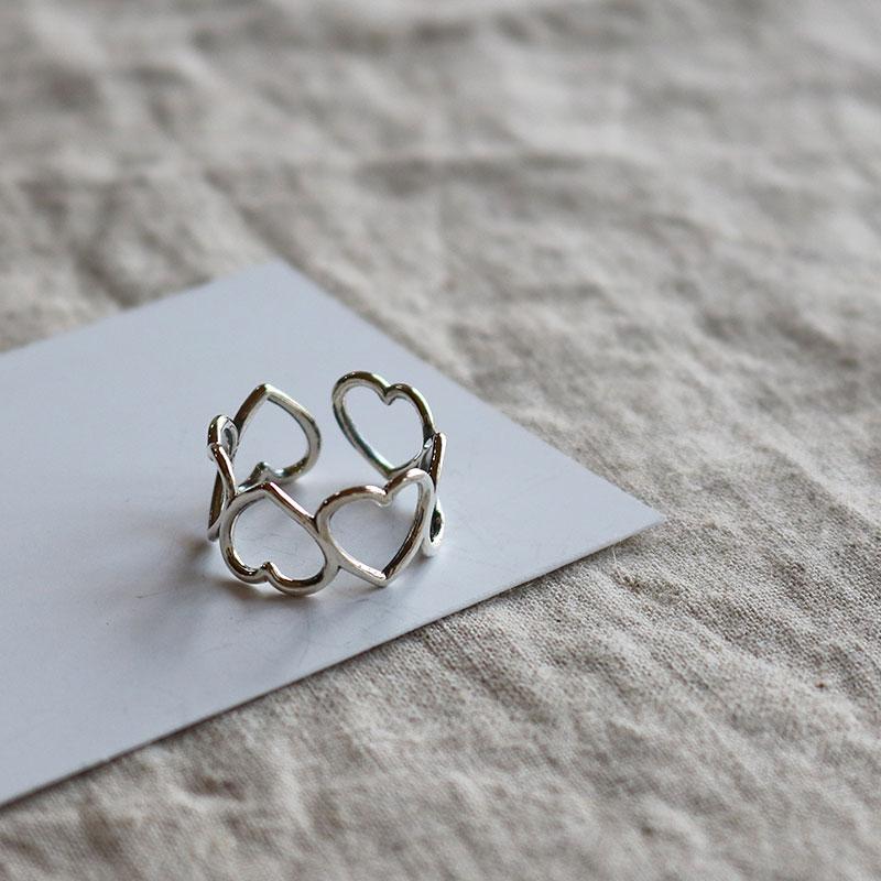 【eclat エクラ】Silver925 Heart Heart Heart Ring【メール便不可】e0092