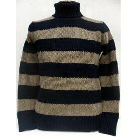【在庫処分/返品・交換不可】SEVESKIG(セヴシグ)[5G Border Turtle Neck Sweater]タートルネック ボーダー ウール セーター Made in Japan!