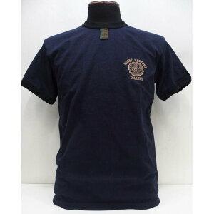 【2020春夏 新作】Deluxeware(デラックスウエア) [Heavy Weight Gazette Ringer T-Shirt/COLLEGE-A.Navy]ガゼットTシャツ 3本針バインダーネック 半袖Tシャツ 日本製