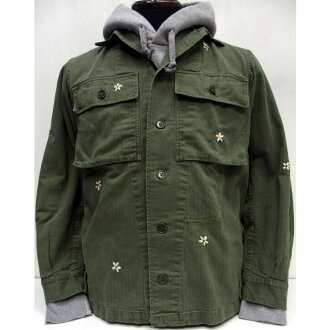 SHANANA MIL(shananamiru)[Vintage 1950's French Army Herringbone Shirts]實用程序襯衫/人字形/花/再作/軍事/法國製造!