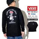 VANS バンズ メンズ tシャツ 長袖 ロンt カットソー 薔薇 バラ モダン バッグプリント ロングTシャツ 春 b系 ファッション スケーター ストリート系