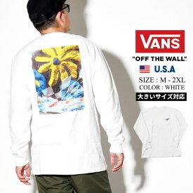 VANS バンズ メンズ tシャツ 長袖 ロンt カットソー チェッカーフラッグ 油絵 モダン バッグプリント ロングTシャツ 春 b系 ファッション スケーター ストリート系