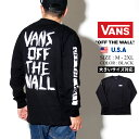 VANS バンズ メンズ tシャツ 長袖 ロンt カットソー OFF THE WALL テキストデザイン バッグプリント ロングTシャツ 春 b系 ファッション スケーター ストリート系