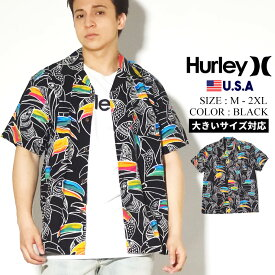 【メール便対応】【ネコポス対応】Hurley ハーレー 半袖シャツ メンズ オープンシャツ カジュアルシャツ アロハシャツ ストリート ファッション スケーター オウム 総柄 Flourish Short Sleeve CN5290