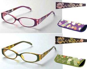 シニアグラス 「和 柄」(ワインレッド)[ 選べる度数 老眼鏡 おしゃれ レディース 軽量 ケース付き 持ち運び 可愛い おしゃれ 和 花柄 ]