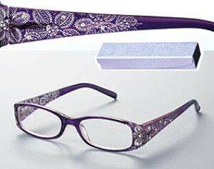 ハイビスカス シニアグラス [ 選べる度数 老眼鏡 紫 可愛い おしゃれ 花柄 軽量 ケース付き 女性 眼鏡 デザイン老眼鏡 ]