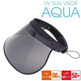 UVサンバイザー アクア 〈 サンバイザー コンパクト 紫外線対策 UVカット 日焼け防止 プール 海 アウトドア 帽子 ぼうし 〉