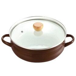 パール金属HB-939クラディアホーローガラス蓋よせしゃぶ鍋26cm(ブラウン)