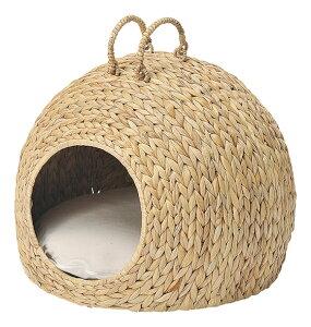 ペット用ハウス かご バスケット ペットハウス ドーム型 犬 猫 ハンドメイド 天然素材 ウォーターヒヤシンス インテリア ナチュラル おしゃれ かわいい